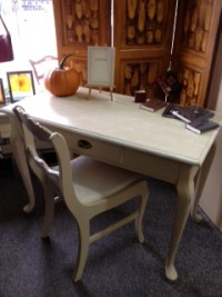 desk with pumpkin
