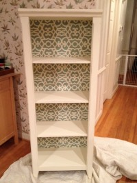 bookcase with stencilled back